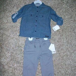 NWT Hudson Boys 2-Piece Outfit 3T Gray Pants/Shirt